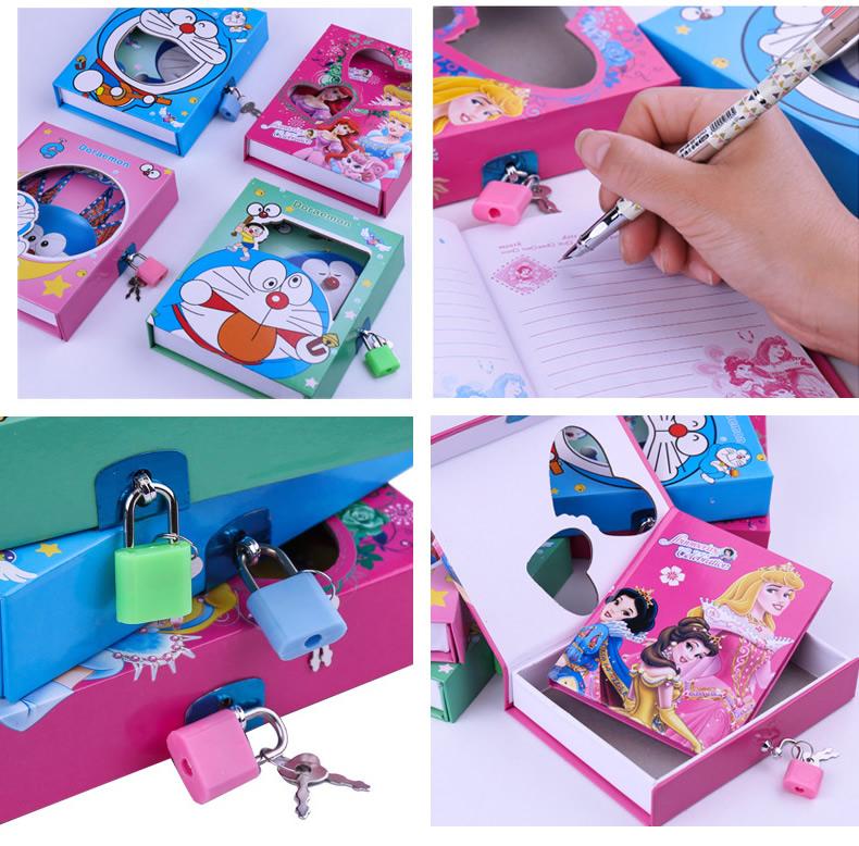 Kertas notebook dan Kunci Kunci Diary untuk anak-anak