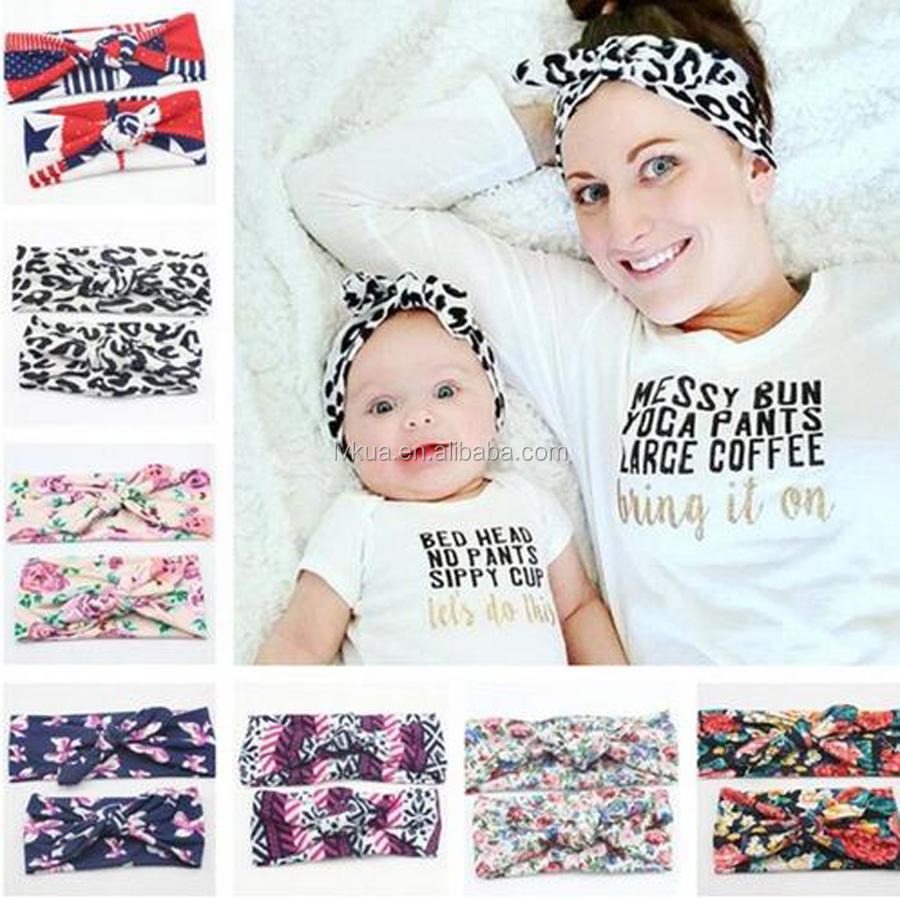 2Pcs Set Mother   Baby Kids Turban Hair Band Accessories Toddler Girls  Twist Knot Headbands Parent-Child Family Headwear 9a0edc710ff