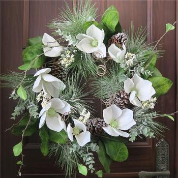 24 Magnolia Pine Frosted Christmas Wreath With Pinecone Christmas