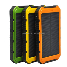 12000mah solar cell phone power charger 5V 2A and 1A