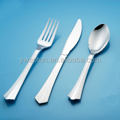 Steel Coated knife spoon fork cutlery disposable royal plastic cutlery set