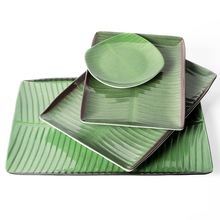 "The whole case wholesale 12.2"" x 8.8"" x 0.9"" Inch Villa Banana Leaf rectangular Melamine Plates Set Printed Design"