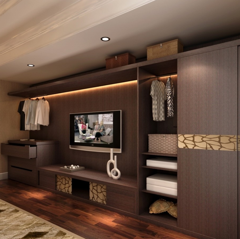 Melamine Board Wardrobe With Tv Cabinet Living Room Wardrobe Design