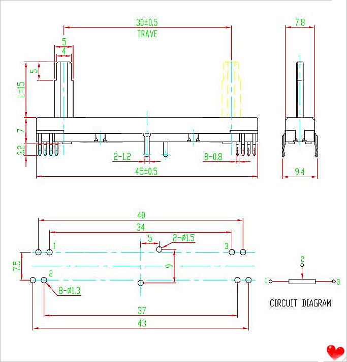 30mm stroke linear potentiometer slide variable resistor, View slide ...