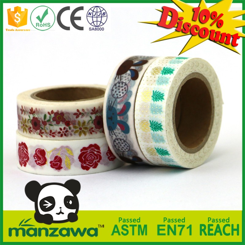 Custom printing custom gold foil waterproof wrap washi tape washi tape holder