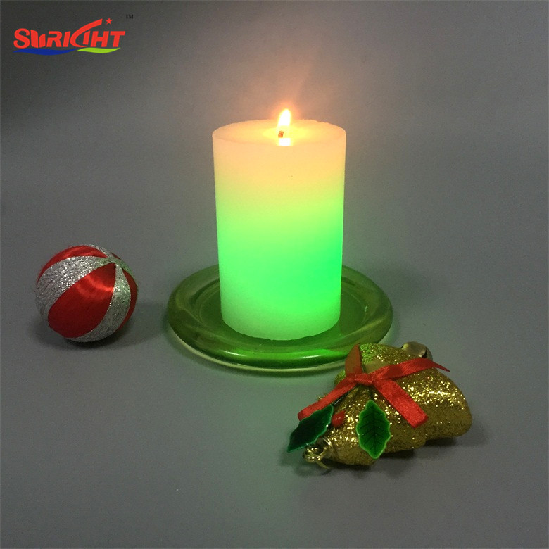 Scented LED Wick Color Component White Pillar Color Changing Candle