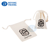 printed white cotton drawstring bag for jewelry