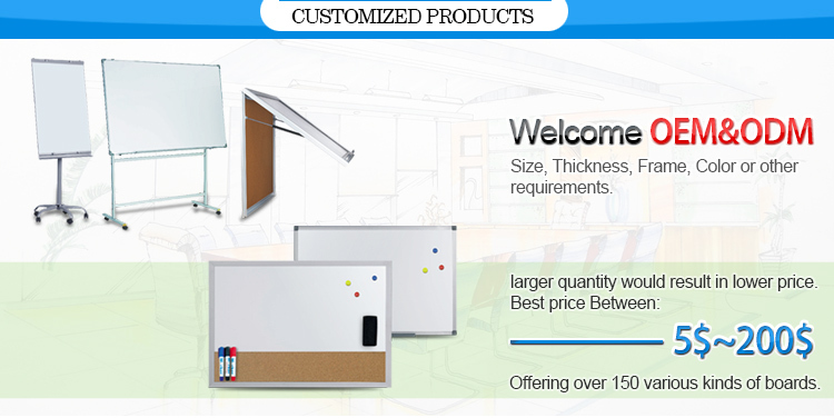 Indoor Standard White Board Sizes Magnetic Whiteboard Surface with Acrylic Window Showcase Message Pin Bulletin Board