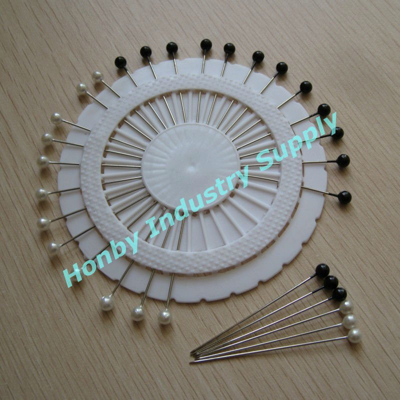 Decorative Additions Black&White 55mm Plastic Pearl Ball Head Pin