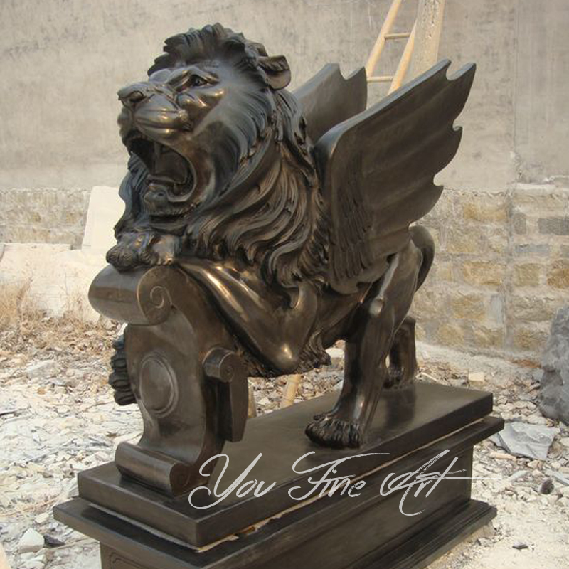 Hand Made Black Marble Lion Statue for Garden