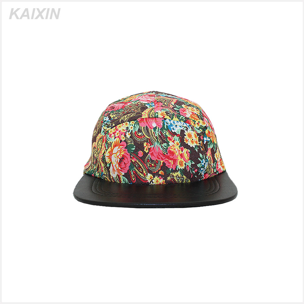 customize high quality design your own logo flat short brim nylon strap floral printed 5 panel snapback cap