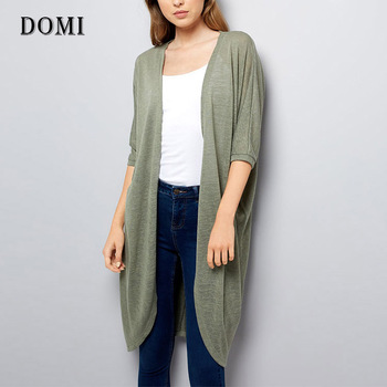 Khaki Cocoon Cardigan Summer Long Knit Sweater Womens