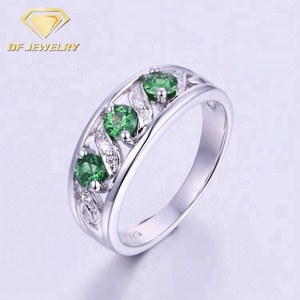 Green Cubic Zircon 925 Sterling Silver Anniversary Rings
