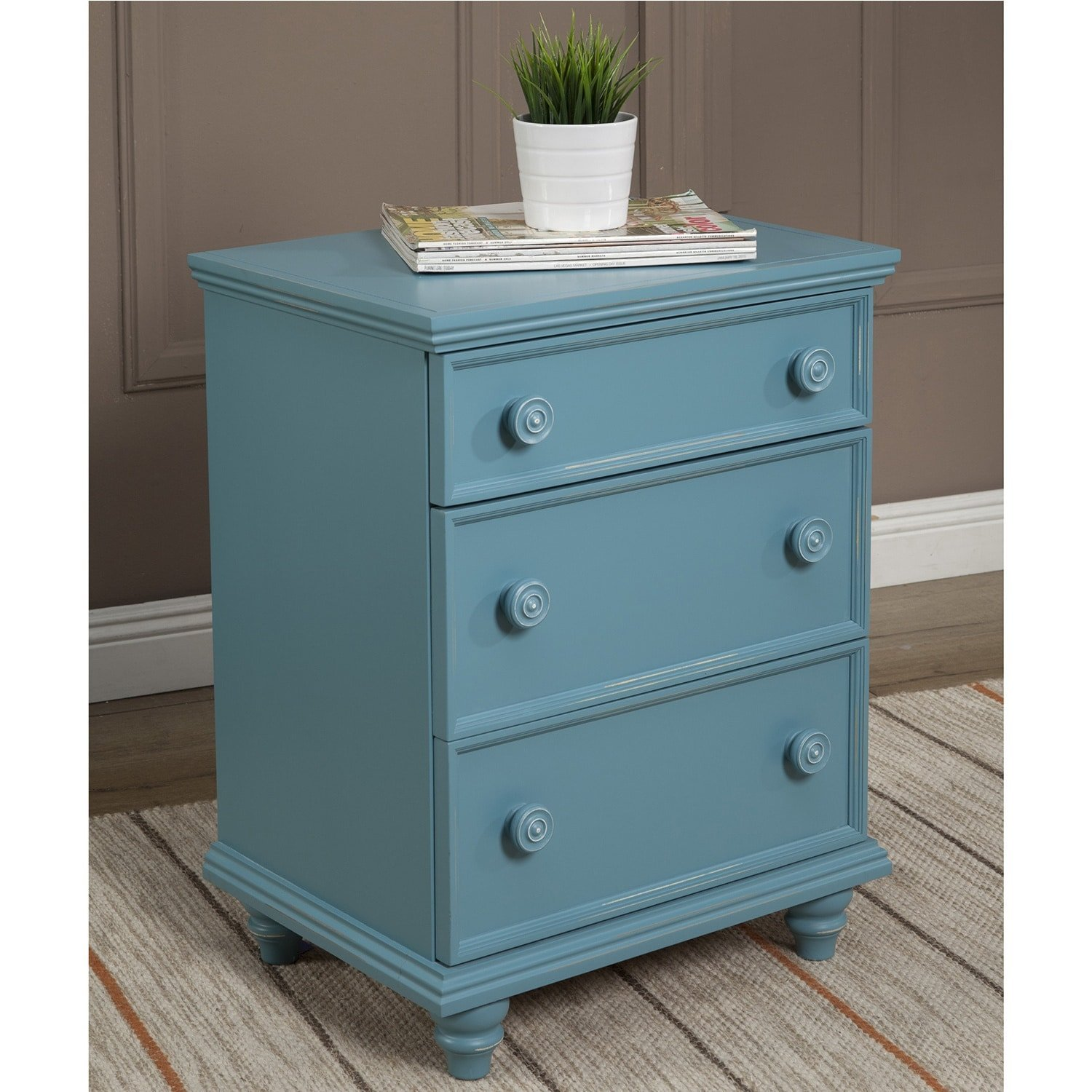 JOHN BOYD DESIGNS Notting Hill Night Stand 3 Drawer Green Green Finish, Painted