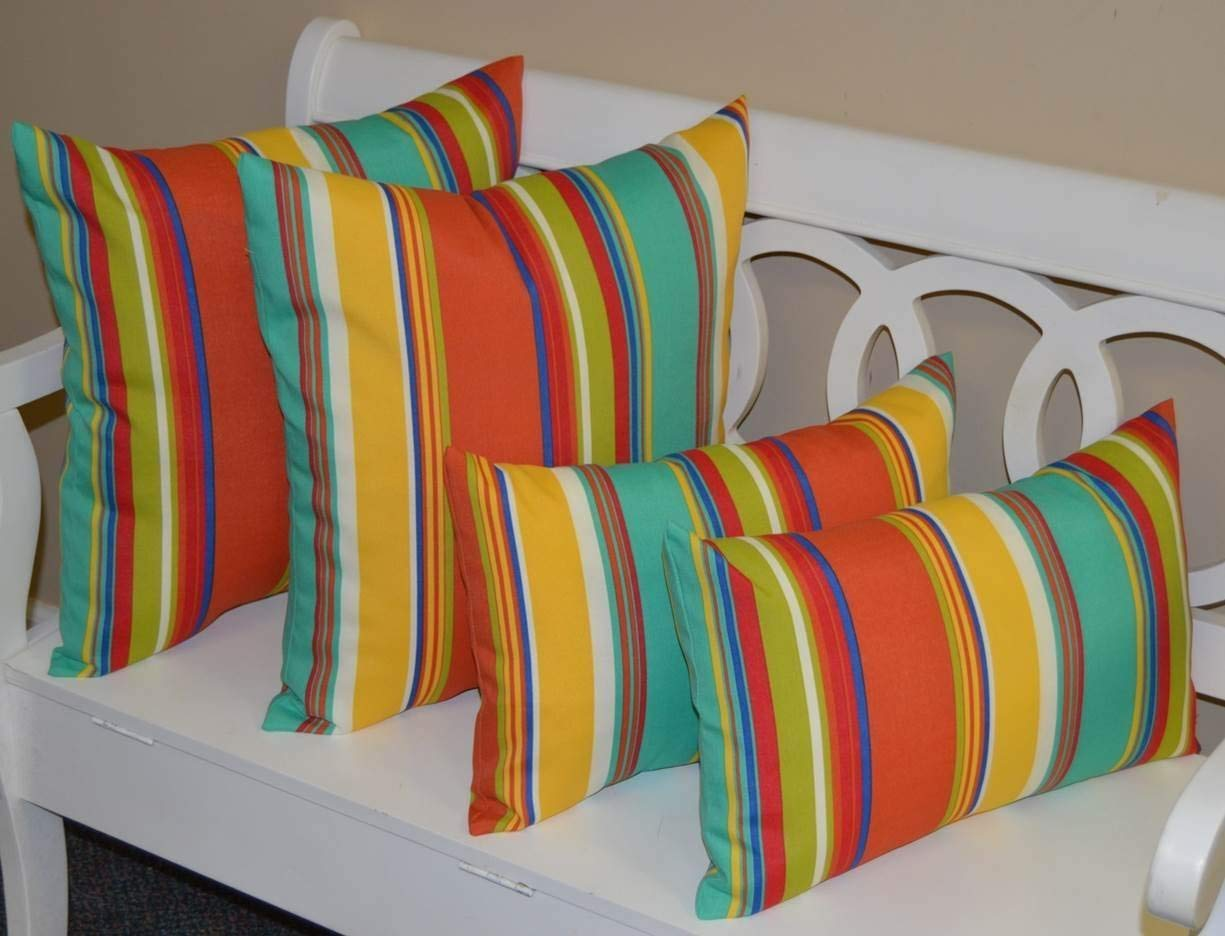 """RSH Décor Set of 4 Pillows ~ 2 x 17"""" Square & 2 Rectangle/Lumbar Coral, Yellow, Turquoise, Red, Blue, Green, White Bright/Colorful Stripe Indoor/Outdoor Pillows"""