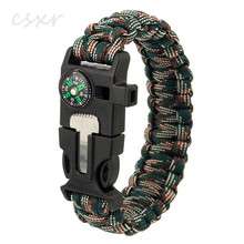 Custom Logo Paracord Bracelet Multifuctional Survival Kit Paracord Bracelets With Fire Starter Whistle Mini Knife Compass