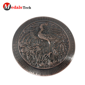 Die casting metal ancient copper finished 3d effect customized coin for souvenir