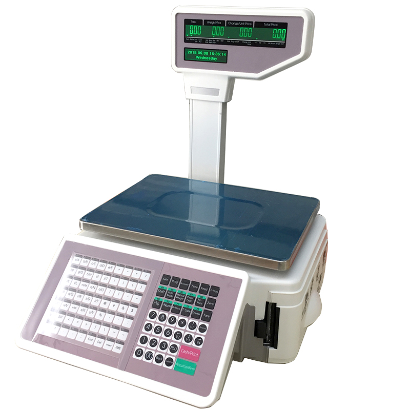 फैशन 15 kg/30 kg सुपरमार्केट rs232/लैन बारकोड लेबल मुद्रण के लिए इलेक्ट्रॉनिक वजन पैमाने समर्थन एकाधिक भाषा बिक्री
