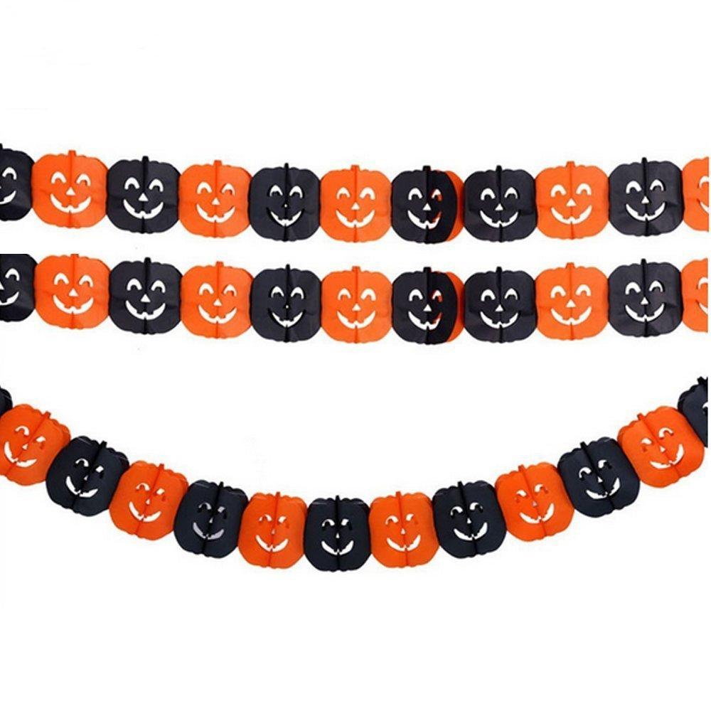 LUCKSTAR(TM) 3 Pack Halloween Decoration Prop Black & Orange Pumpkin Pattern Paper Garland for Masquerade Halloween Fancy Dress Ball
