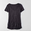 Wholesale Online Store Lightweight Blank Plain Short Sleeve Relaxed Comfort Scoop Neck Hi-lo Hem Sexy Black Bulk V-Neck T Shirt