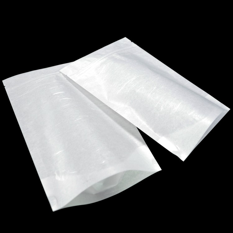 white paper laminated poly stand up punch zipper bag for food storage