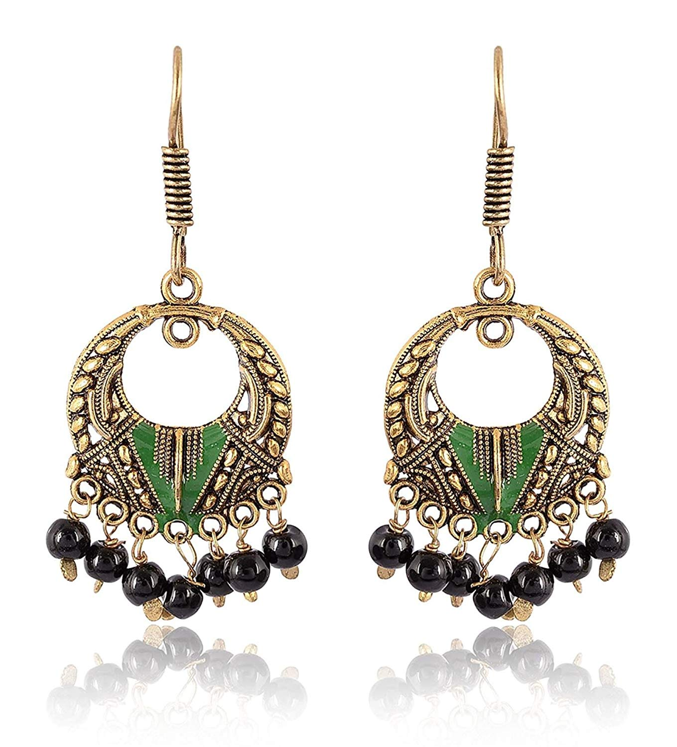 Subharpit Ethnic Blue Non-Precious Metal Dangle /& Drop Earrings for Woman and Girls