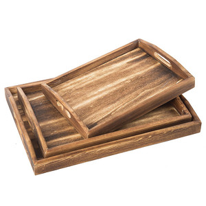 Torched Wood Rectangular Nesting Breakfast, Wooden Coffee Trays