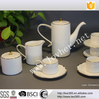 Hot sale Eternal white porcelain with gold tea set coffee set for restaurant and hotel office, wholesaler