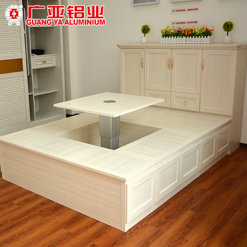 Japanese tatami bed Headboard Japanese Style Wooden Grain Aluminium Frame Furniture Tatami Bed With Rising Desk And Cabinet Buy Furniture Tatami Bedaluminium Bedbed Product On Youtube Japanese Style Wooden Grain Aluminium Frame Furniture Tatami Bed