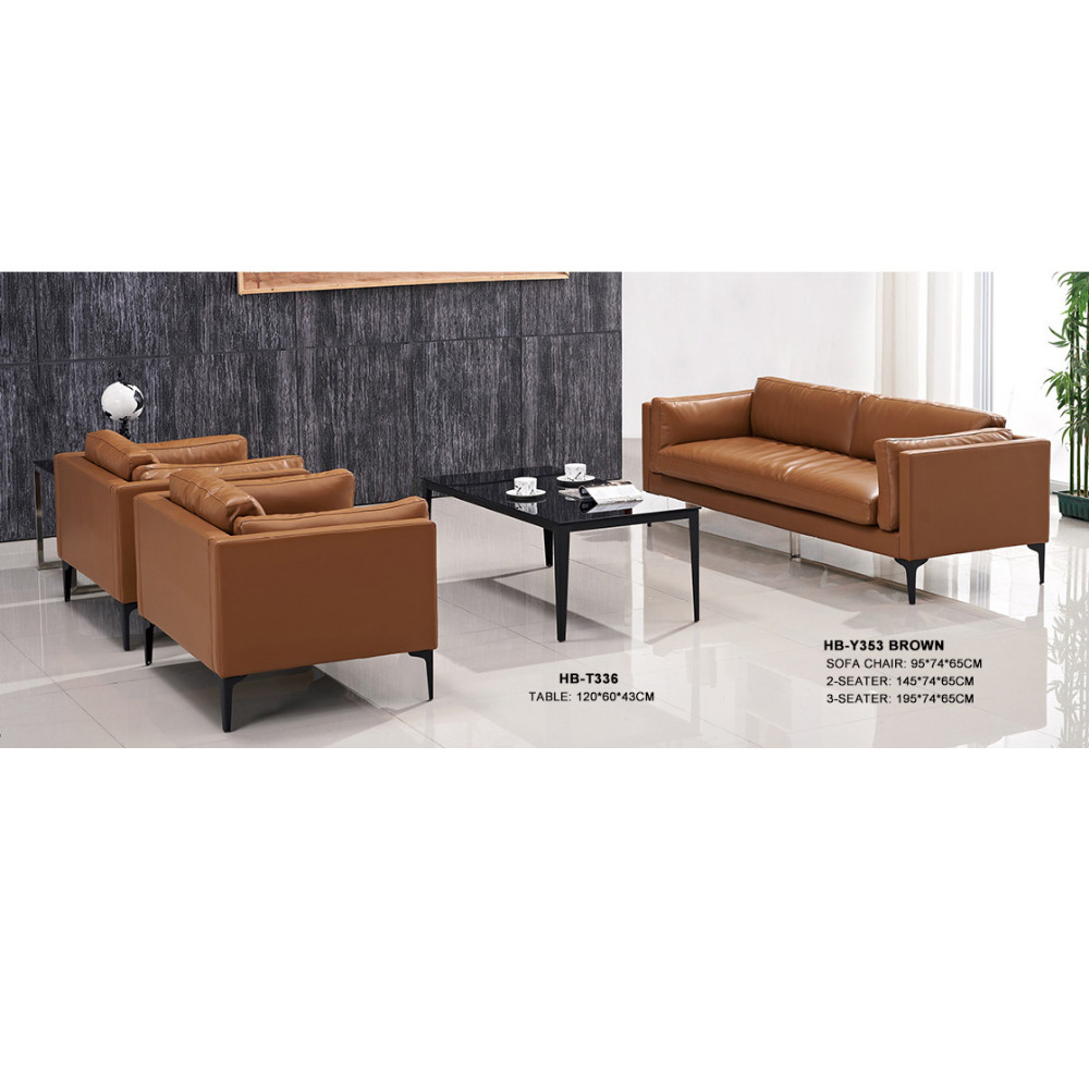 Modern american style durable brown leather office sofa furniture with metal legs for reception