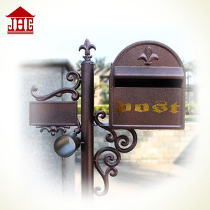 Foshan JHC-11022 Antique post mounted mailbox/cast aluminum mailbox parts/metal letter boxes