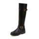 YX09A074 2017 Latest style hot selling fashion black pu leather flat heel women riding boots