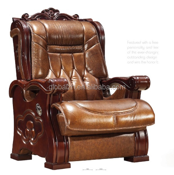 Leather folding armrest luxury wooden executive office chair GZH-SJ2003H