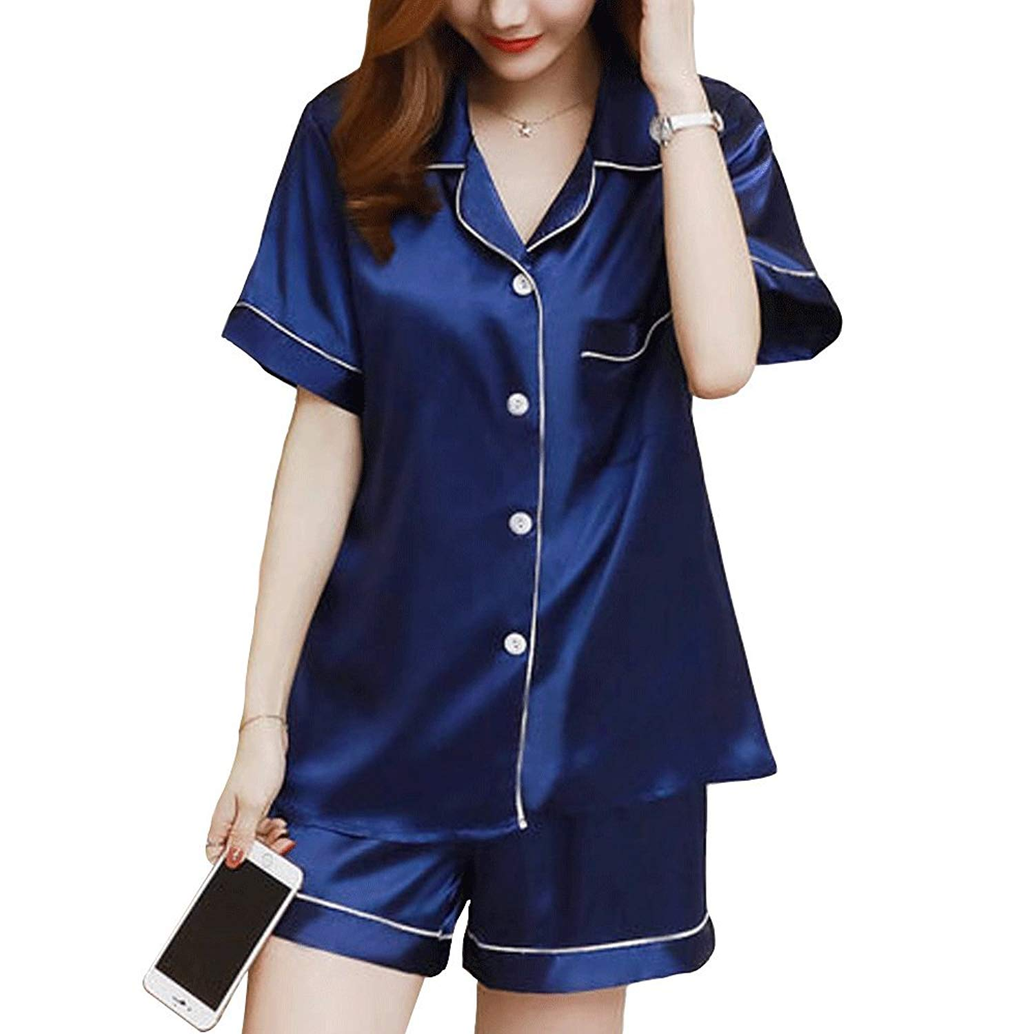 Get Quotations · Women s Casual Silk Sleep Pajama Sets Short Sleeve Satin Pajama  Set with Shorts 859ef2e49