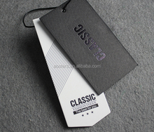 Black card stock clothing paper hang tag with UV glossy swing tag
