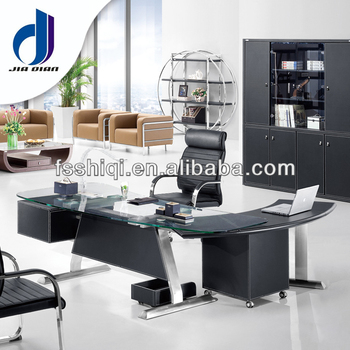 Moderun Office Table With Glass Top Pvc Leather F-14 - Buy Glass Top,Modern  Office Table,Pvc Leather Product on Alibaba.com