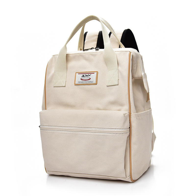 School Sason Light Creamy White Color Fashion Lady Tote Canvas Campus Backpack