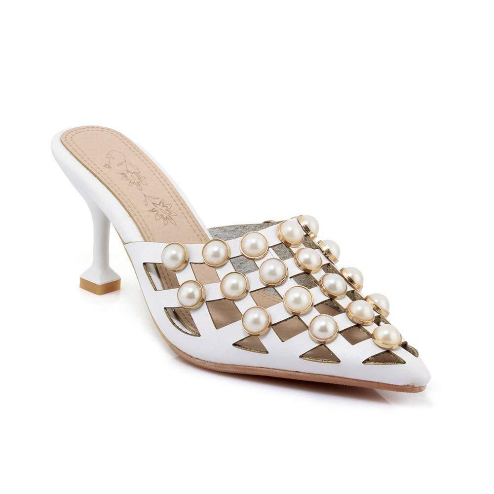 a46b76aa595 Get Quotations · Btrada Women s Sexy Heeled Slide Sandals Pointed Toe Slip  On Kitten Heels Mules Outdoor Pumps Dress