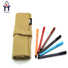 Canvas roll up pencil case, natural de lona bolsa de lápis de rolamento