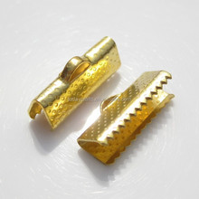 jewelry accessory parts crimp ends cord findings iron leather crimp cable ends in Gold tone ribbon crimp ends