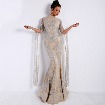 Mature Women Formal Gold Embroidered Lace Arabic Evening Dresses Elegant Women Sequins Long Party Tassels Fringe Mermaid Dress Buy Party Dresssexy