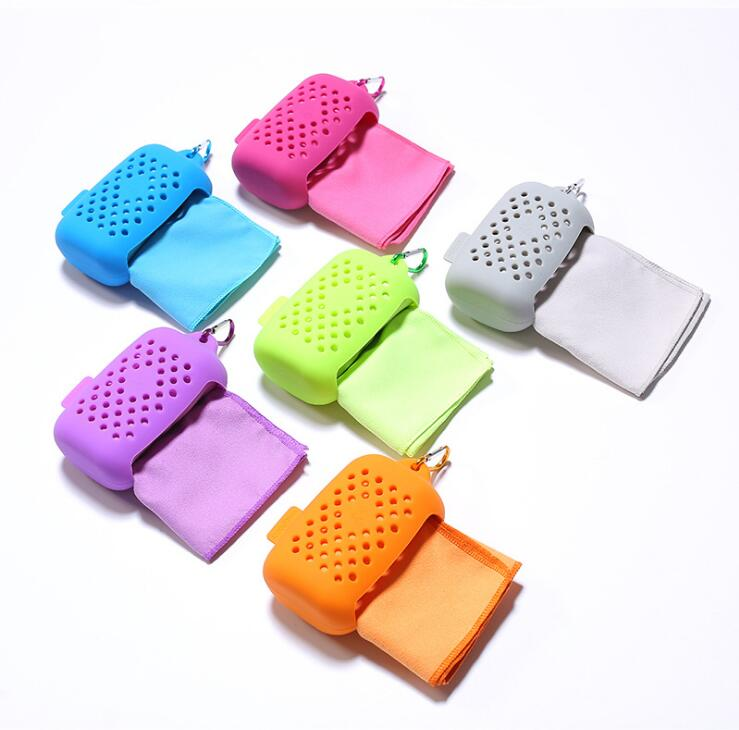 New Design Portable Silicone Case Wrap Super Sweat-absorbent Microfiber Cool Sports Towel