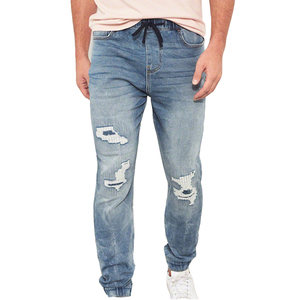 High quality wholesales denim cropped hem ripped elastic waist jogger jeans pants men