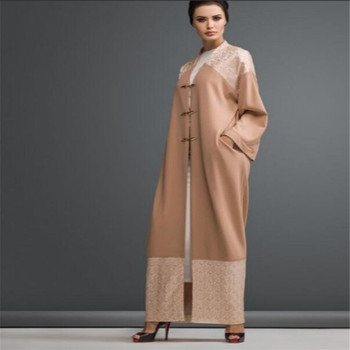 Crazy selling top quality kimono Indonesia style elegant apricot open abaya polyester lace trim kaftan wholesale