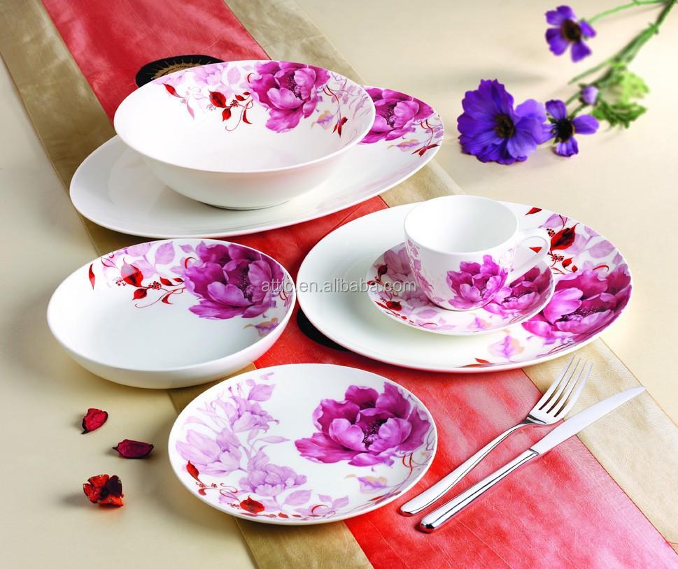 einzelhandel 16 st ck menuebesteck mit rosa bl ten k nigliche porzellan geschirr fine bone. Black Bedroom Furniture Sets. Home Design Ideas