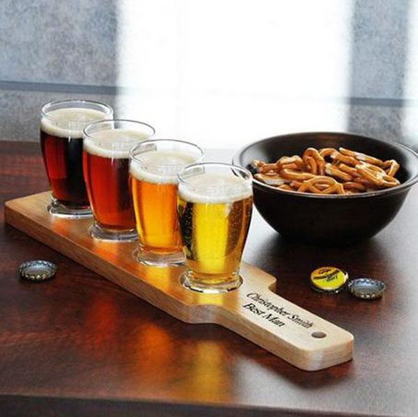 Wooden Beer Tasting Tray Holder Wooden Tray Cup Holder