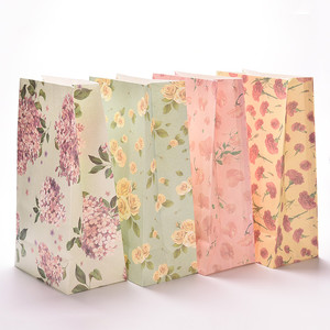 Floral Pattern Candy Food Gifts Use Recycled Craft Kraft Paper Bag
