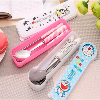 Hot sale colorful Box stainless steel Chopsticks spoon and fork Set