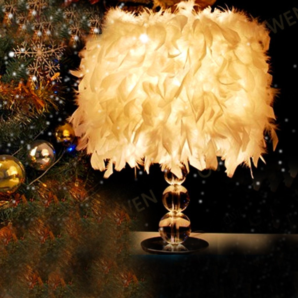 WENBO HOME- Modern minimalist crystal table lamp warm personality living room creative bedside lamp wedding lamp bedroom lamp -Desktop lamp ( Color : Super-dense White Feathers )