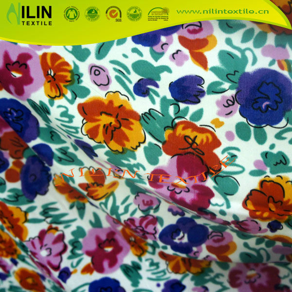 100% rayon floweret printed rayon voile fabric for dress